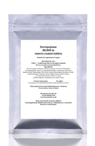 Serrapeptase 80'000 iu 200 enteric coated tablets UK Manufactured FREE UK POST